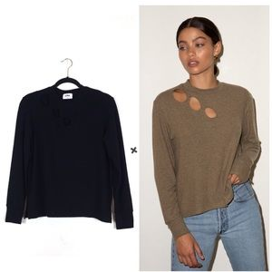 LNA Revolve Brushed Dawn Black Cut Out Sweater